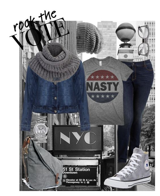 """""""NY VOTE!!!"""" by carlenewright ❤ liked on Polyvore featuring Old Navy, Zizzi, Converse, adidas, The North Face, Michael Kors, Nasty, rockthevote, clinton and imwithher"""