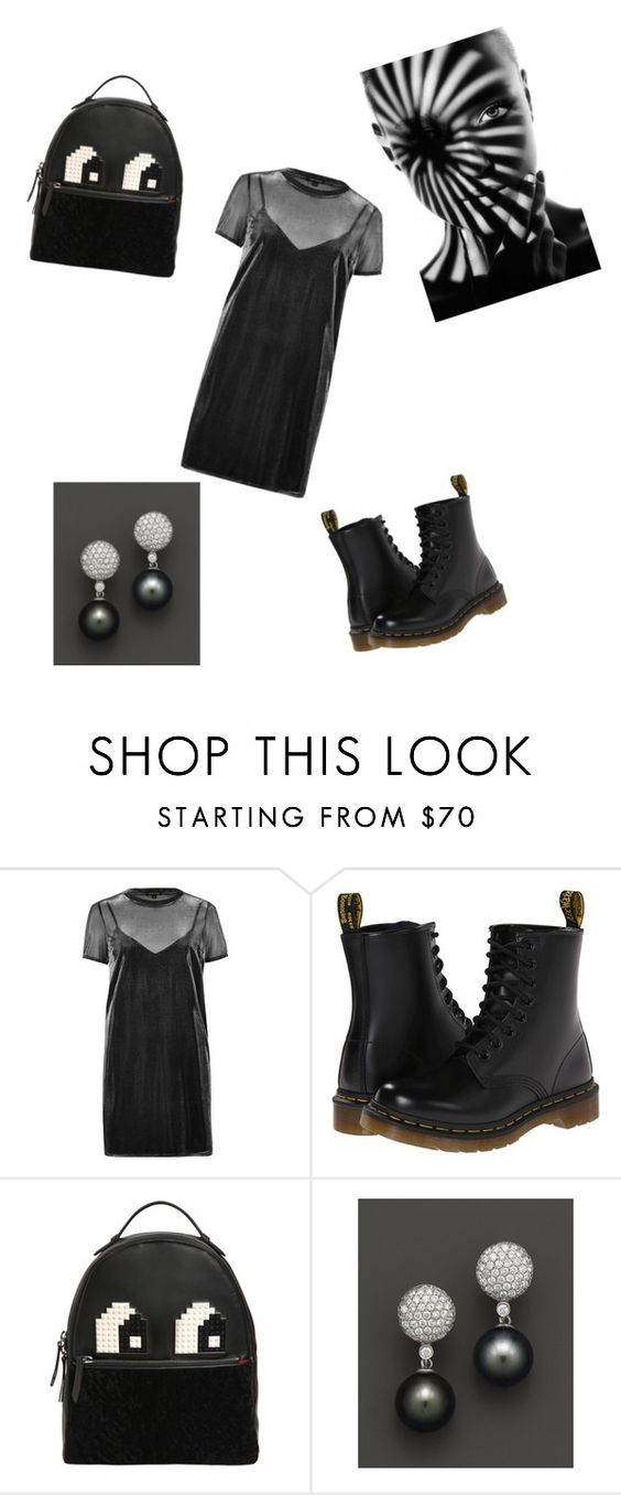 """#metallicdress 🙉"" by arina-bianca ❤ liked on Polyvore featuring River Island, Dr. Martens, Les Petits Joueurs and Bloomingdale's"