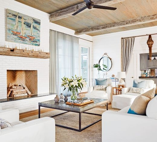 Coastal Farmhouse Style Beach House With Industrial Design Touches Beach House Living Room Beach Decor Living Room Coastal Style Living Room