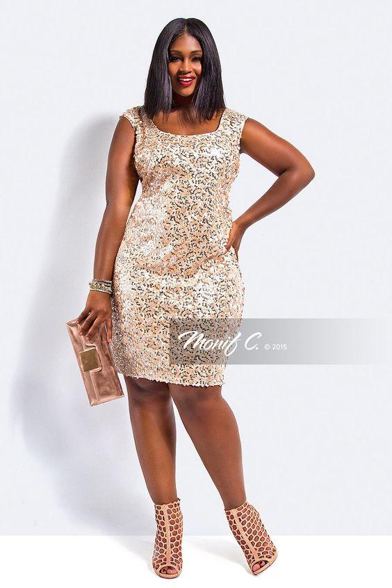 Plus Size Sequin Dress - Monif C Plus Size Clothing - Plus Size ...