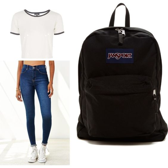 Casual School Wear by essencesissues on Polyvore featuring polyvore fashion style Topshop Dr. Denim JanSport