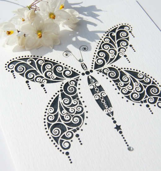 Art Deco inspired butterfly laser cut wedding invitation