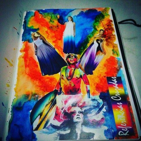 Mesclando colagem com técnicas de aquarela com referência no Manguebeat.  #Moda #cadernodetendencia  #manguebeat  #pesquisademoda