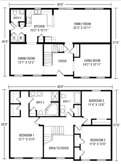 26 x 40 Cape House Plans Premier Builders Two Story Floor