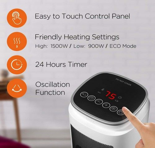 Ceramic Tower 1500w Indoor Space Heater Space Heater Programmable Thermostat Timer