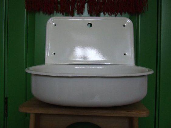 Sink Vintage Porcelain Enamel White Enamel Sink With Drainboard Antqiue Kitchen Sink Farm Sink High Back Splash Ri Drainboard Sink Vintage Porcelain Farm Sink