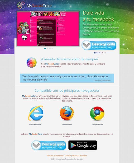 Landing Page para la aplicación MySocialColor