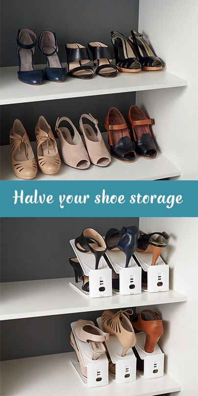 These impressive shoe storers maximise the vertical space in your wardrobe and will halve your storage! Height adjustable and easy to access, they can be used with flats as well as high heels. Whether you store your shoes in your wardrobe, the garage or at the front entrance to your home, these shoe holders provide a clever, easy to use storage solution.: