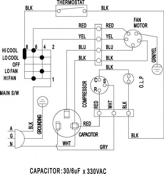 Wiring Diagram Of Window Type Air Conditioner Ac Wiring Electrical Circuit Diagram Types Of Electrical Wiring