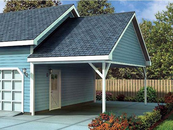 Attached carport plan 047g 0023 use cedar posts y for Shed with carport attached