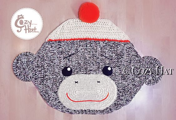Sock Monkey Rug. Hand Crocheted. Made to Order. by CozyHat on Etsy
