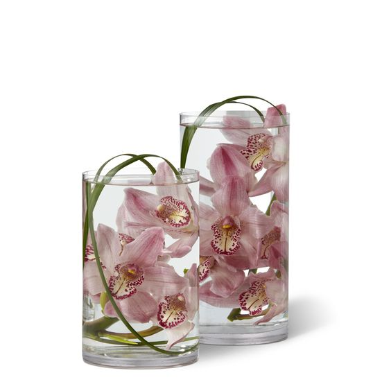Orchid flowers vases and vase on pinterest for How to make flowers float in vases