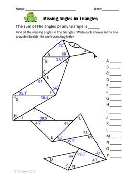 Missing Angles In Triangles Triangles Angle Sum Theorem Angles Worksheet Triangle Math Angles Math