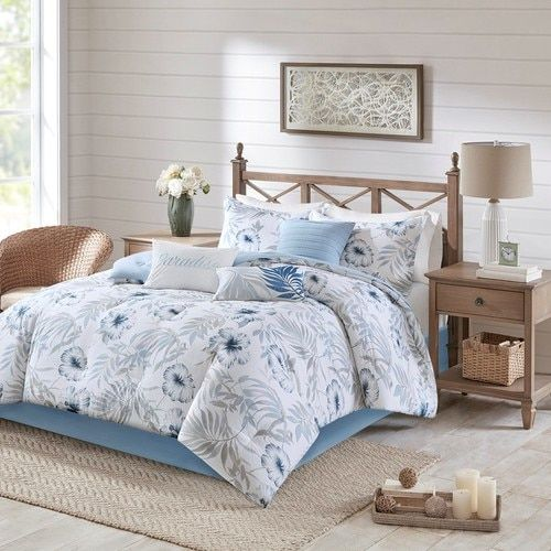 Instantly Transform Your Bedroom Into A Relaxing Coastal Getaway With Our Blue Paradise 7 Piece Cotton Comforter Sets King Size Comforter Sets Print Comforter King size cotton comforter sets