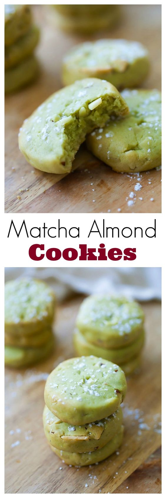 ... matcha (green tea) cookies with almond. Super easy matcha cookies