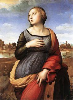 Raphael–Raffaello Sanzio da Urbino (Italian 1483–1520) [High Renaissance] Saint Catherine of Alexandria, 1507-1508. National Gallery, London.