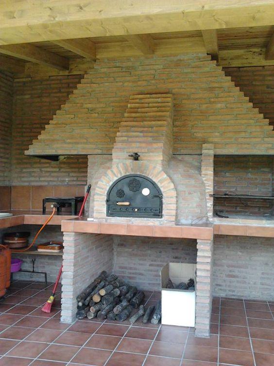 Horno de ladrillo visto para cocina exterior barbacoas cocinas y pergolas para exteriores de - Chimeneas ladrillo visto ...