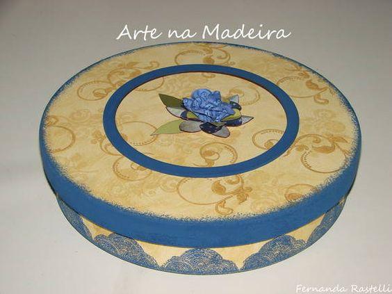 Caixa redonda   Arte na Madeira - Fernanda   Elo7