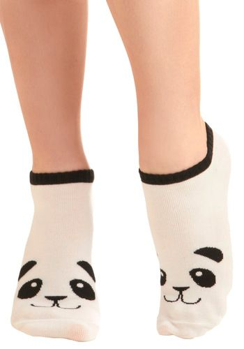 Flash in the Panda Socks. Your style will be in the spotlight when you debut these adorable panda socks! #white #modcloth