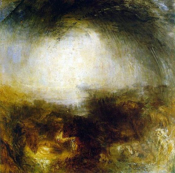 William Turner, Shade and Darkness: the Evening of the Deluge- 1843. US Pubic Domain via wikimedia.