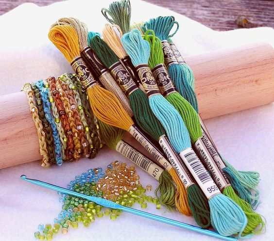 Crochet chain with embroidery floss seed beads here and