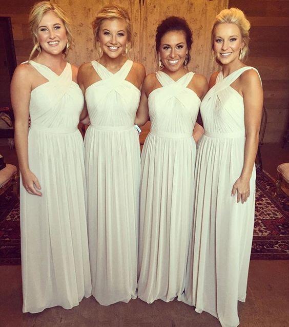 Charming Chiffon Bridesmaid Dresses, Long Bridesmaid Dress, Criss-cross