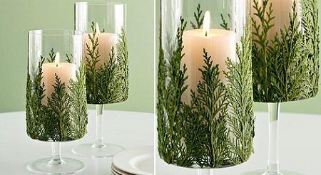 velas decorativas com folhagem