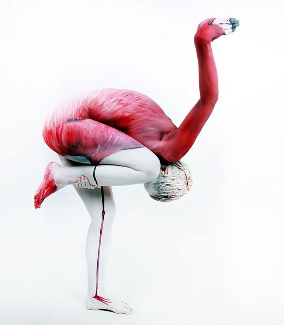 Body Painting - Flamant Rose | #Art #BodyPainting