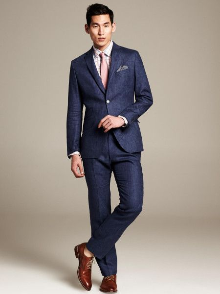 Grey Salt & Pepper Linen Patch Pocket Suit, and White Self Stripe