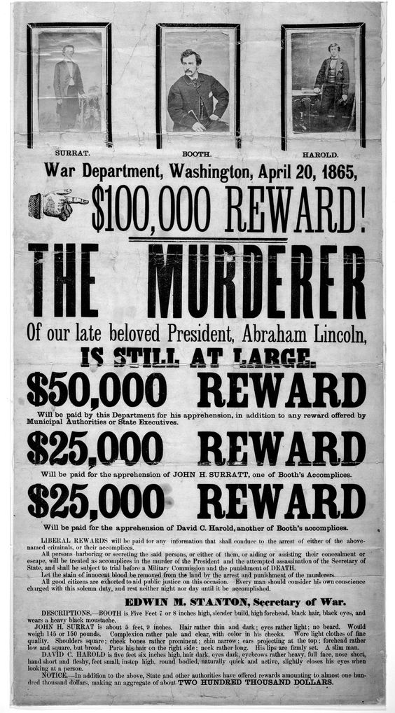 Mary E Surratt, condemned conspirator in the Lincoln - criminal wanted poster