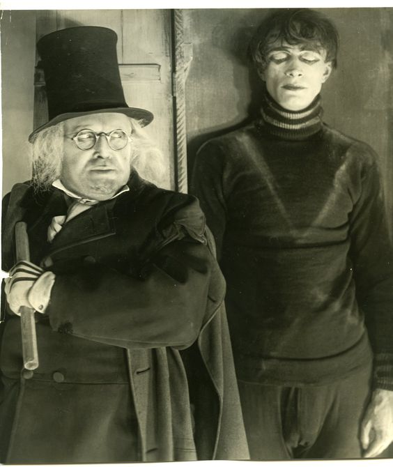 "Dr. Caligari & Cesare (from Das Cabinet des Dr. Caligari ""The Cabinet of Dr. Caligari"", 1920). Portrayed by Werner Krauss & Conrad Veidt:"