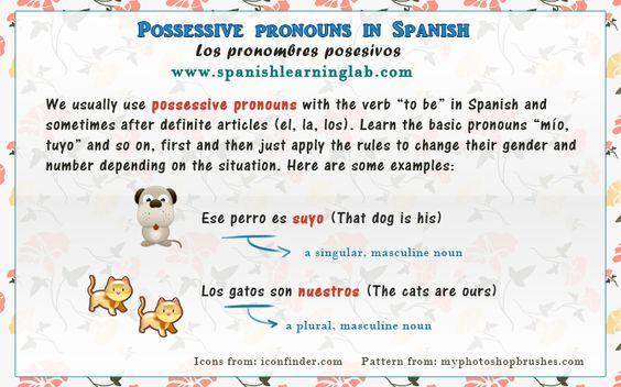 Possessive pronouns in Spanish - Pronombres posesivos 1. Spanish possessive pronouns chart and definition: Los pronombres posesivos 2. Examples using possessive pronouns in sentences