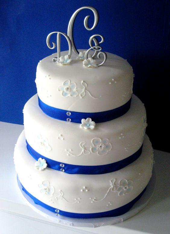 Image Detail for - White & Blue Wedding Cake