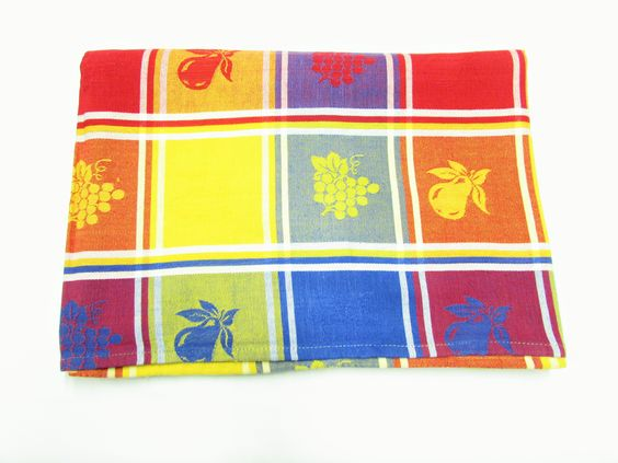Vintage Color Block Tablecloth Grapes Pears - Etagere Antiques, Vintage, Collectibles