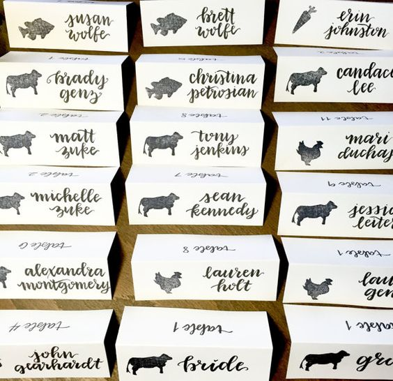 wedding place cards with dinner / meal choice by theapothecarybee