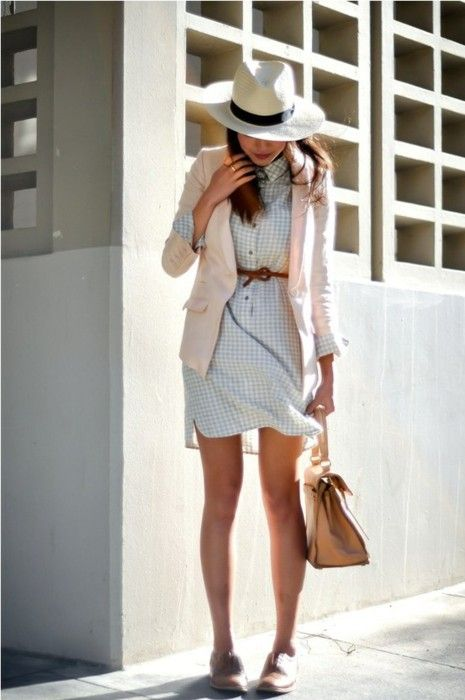 Such a cute dress!  The jacket and hat... not my favorite, but the shoes and bag are so great :)