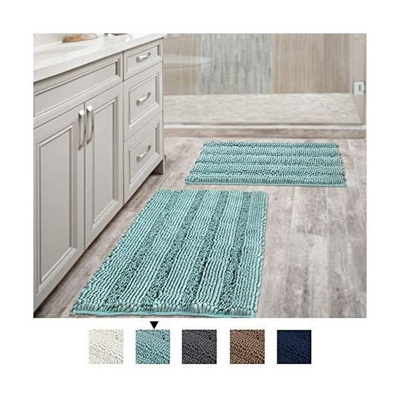 Eggshell Blue Set of 2-20 x 32//17 x 24 Bath Mats for Bathroom Extra Soft and Absorbent H.VERSAILTEX Non Slip Thick Shaggy Chenille Bathroom Rugs Striped Bath Rugs Set for Indoor//Kitchen