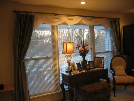 Awesome White Scarf Over Valance Feat Curtains For Wide Windows As ...