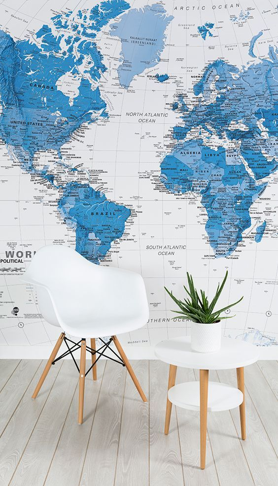 Minimal Clean And Beautiful This Two Tone Map Wallpaper Design Combines Sophistication With Simplicity Creating Office Wallpaper World Map Mural Map Murals
