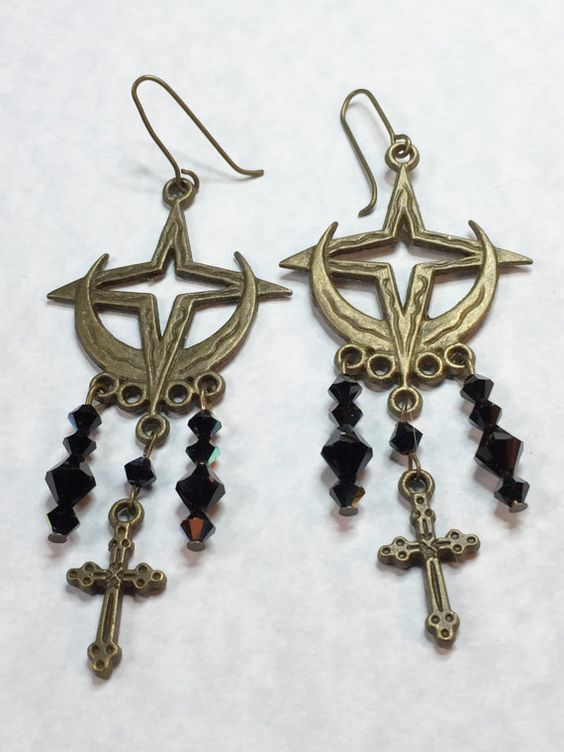BOHO Antique Brass Cross Earrings by AjaBoutique on Etsy