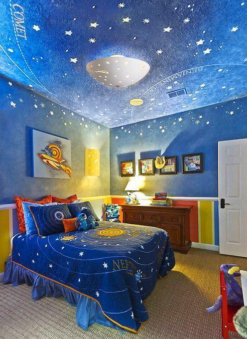 Kids Bedroom Lighting Cool Space Themed Bedroom For Boy Kids