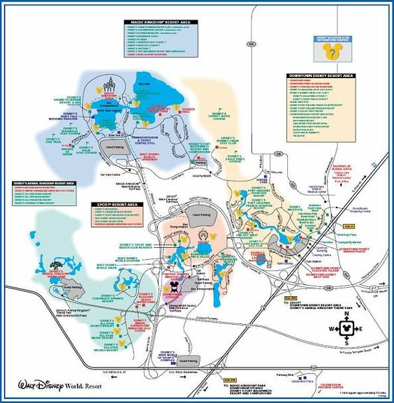 Links to printable pdf maps of walt disney world resort including a property