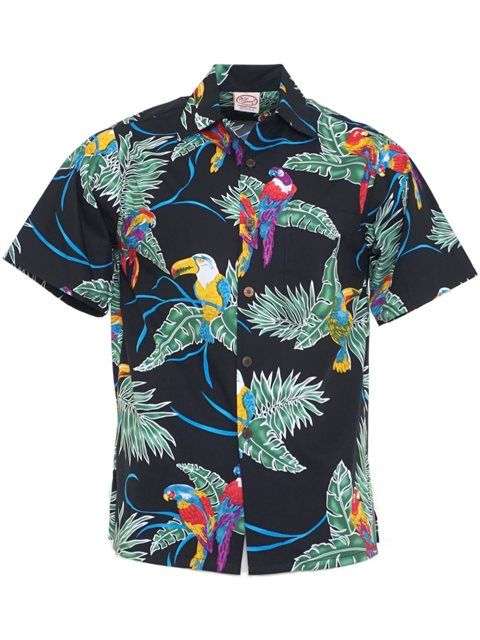 Go Barefoot Vintage Tropical Birds Black Cotton Men's Hawaiian ...