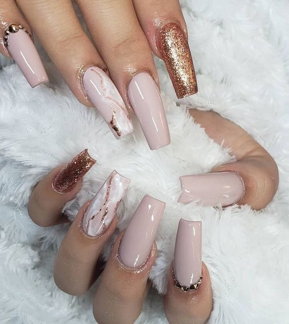 55 Acrylic Coffin Nail Designs To Try 2019 In 2020 Gold Nail