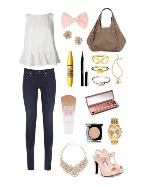 Soft and plain colours with a statement necklace. Love it!