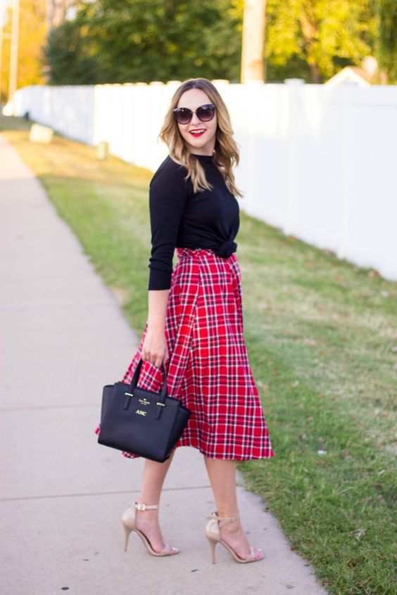 Plaid Midi Skirt For Fall