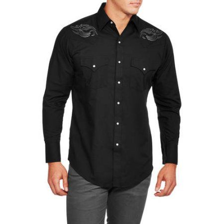 Plains big and tall men 39 s long sleeve easy care western for Men s tall long sleeve shirts