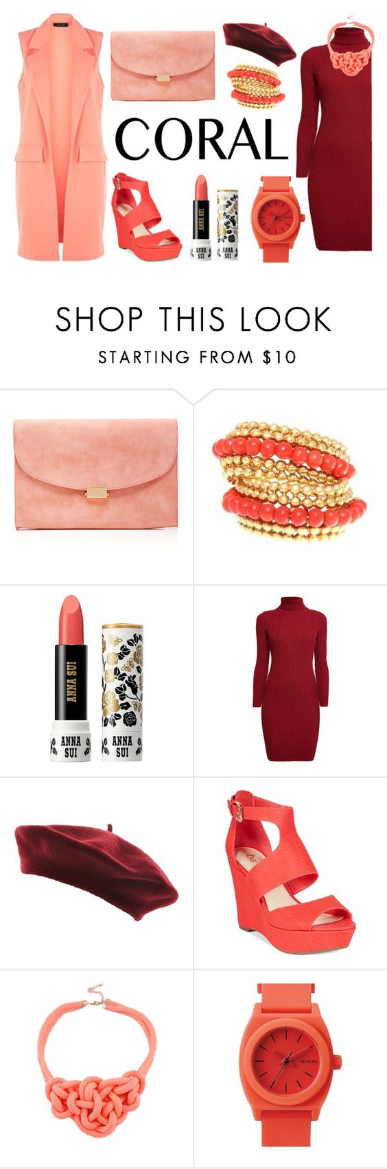 """Corals Combined with Heavy-Red."" by harningdipta on Polyvore featuring Mansur Gavriel, Anna Sui, Rumour London, Bar III, Nixon, women's clothing, women, female, woman and misses"
