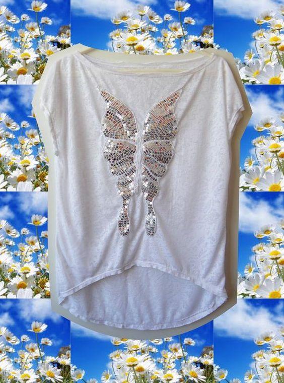 Blusa visco devorê com aplique borboleta paetê - Tam U (M 40)