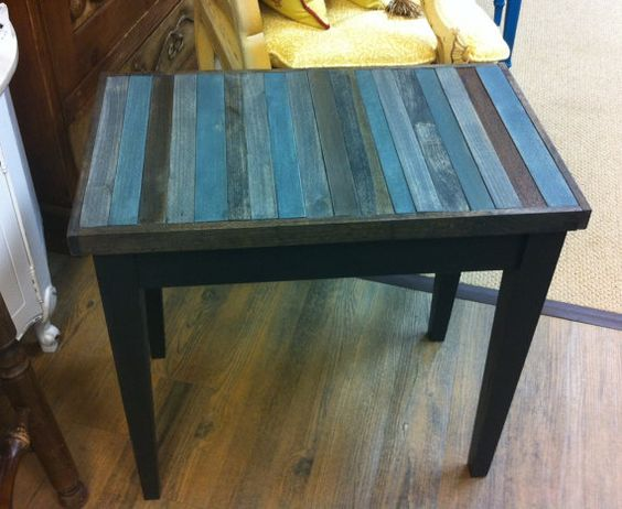 Color inspiration gray blue stained top base is painted for Painting wood table black